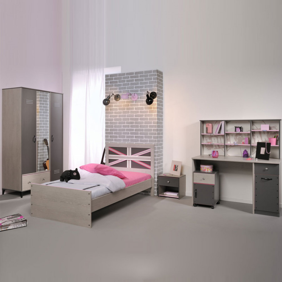 Jugendschlafzimmer m belset belliona 5 teilig grau for Home24 nachttisch