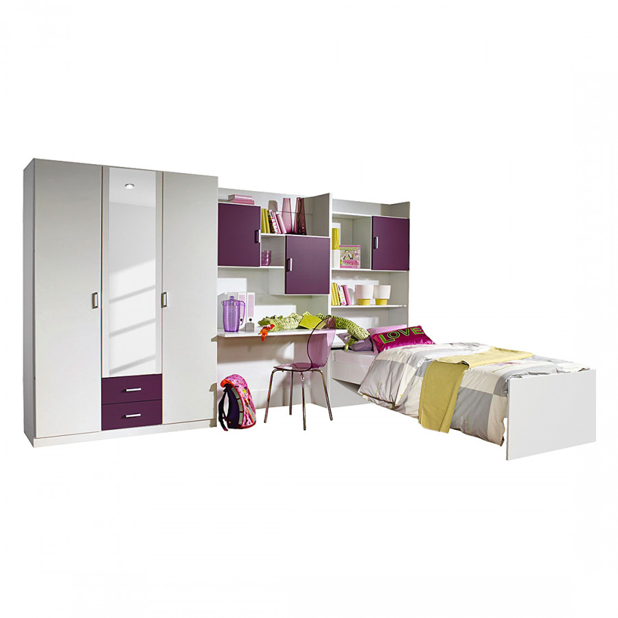 jugendzimmer flow 3 teilig kleiderschrank bett regalwand home24. Black Bedroom Furniture Sets. Home Design Ideas
