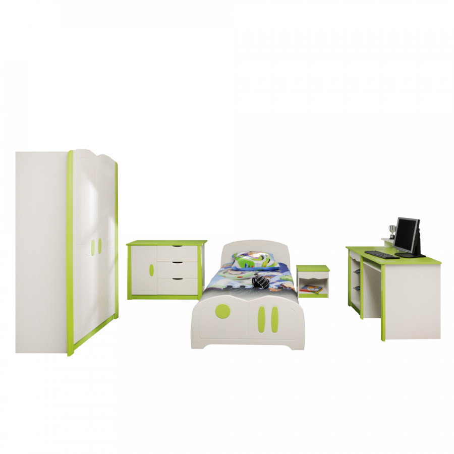 Kinderzimmer set fresh 5 teilig wei gr n home24 for Kinderzimmer nachttisch