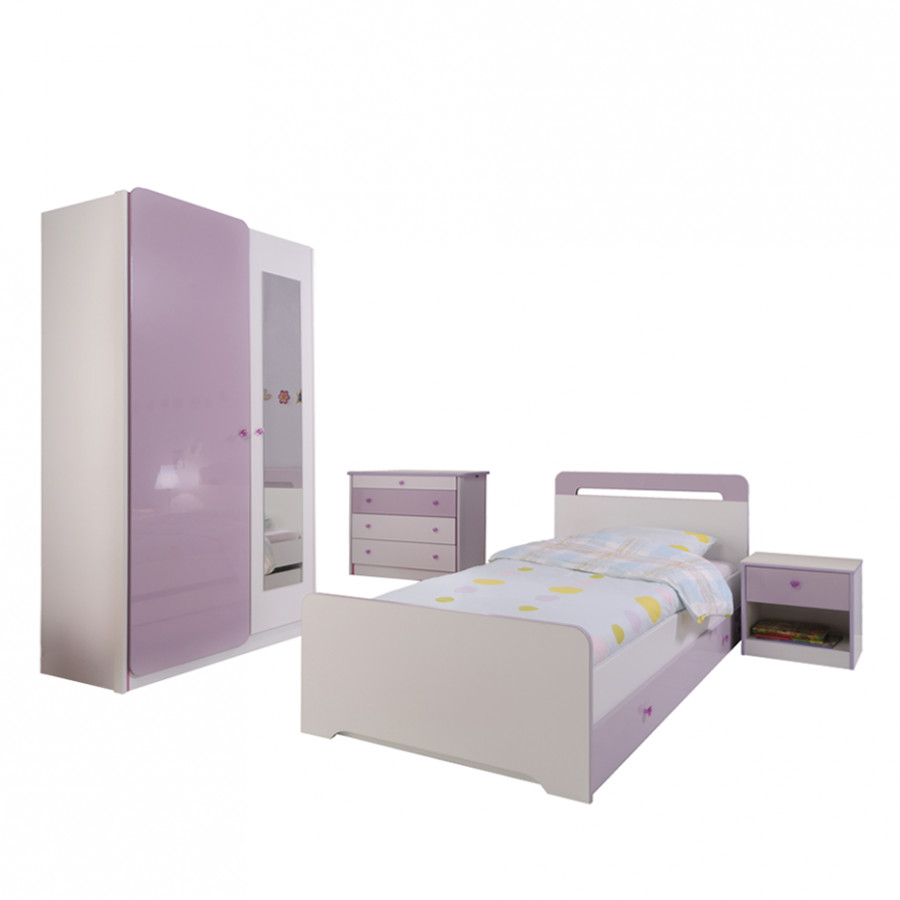 kinderzimmerm bel judy 4 teilig wei lila hochglanz schrank bett mit schubkasten. Black Bedroom Furniture Sets. Home Design Ideas