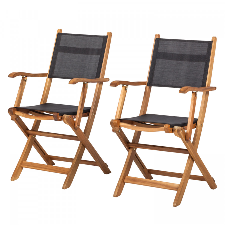 Chaise pliable en acacia aspect bois de teck lot 2 for Prix chaise bois