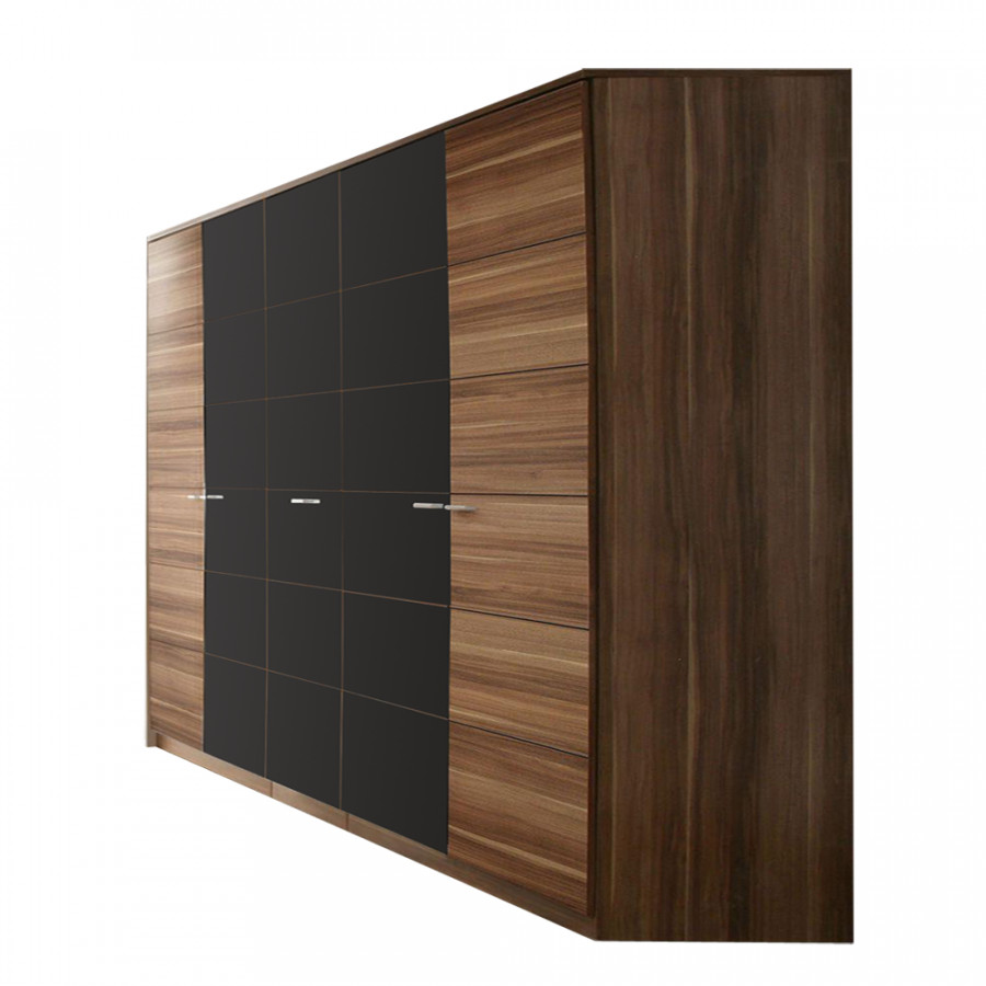 kleiderschrank nancy walnuss dekor schwarz hochglanz. Black Bedroom Furniture Sets. Home Design Ideas