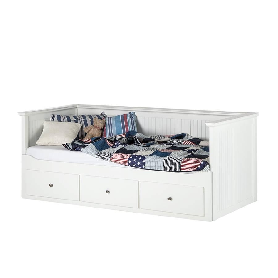 lit simple abbey verni blanc. Black Bedroom Furniture Sets. Home Design Ideas