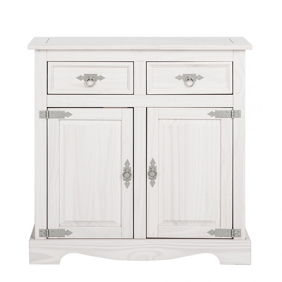 landhaus classic commode lucia a  portes pin massif lasure blanche