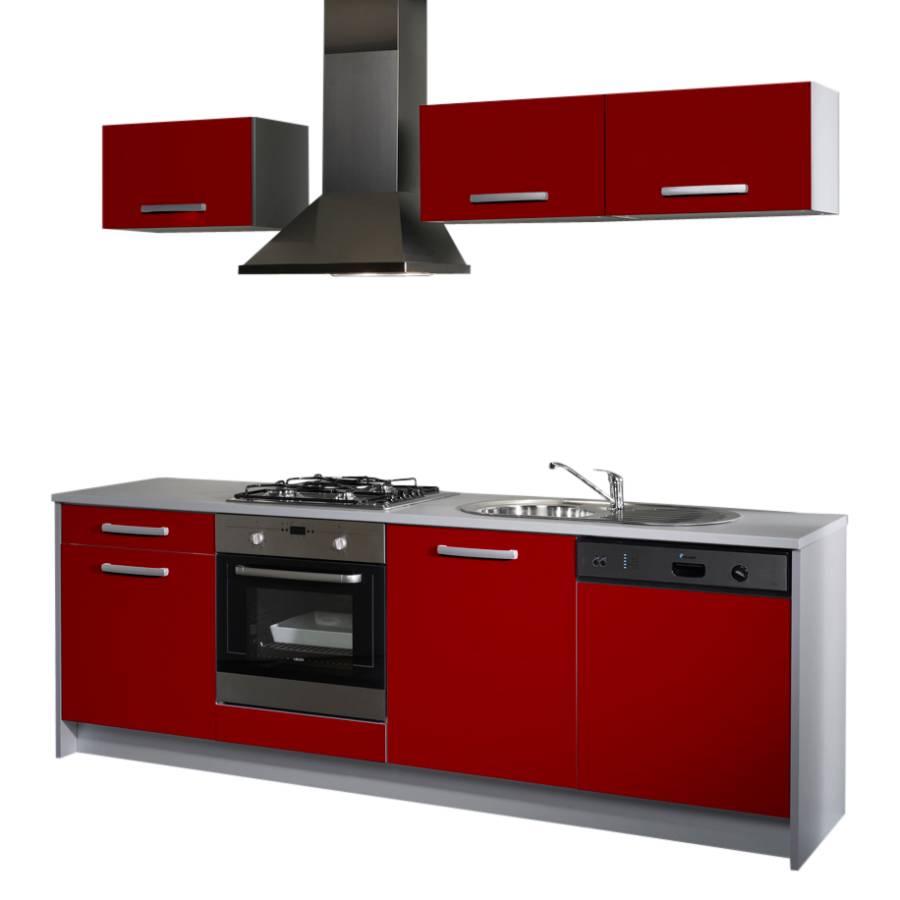 Küchenzeile Ambros 7 teilig Rot Hochglanz Grau