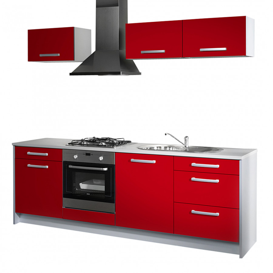 k chenzeile lepura 7 teilig rot hochglanz grau home24. Black Bedroom Furniture Sets. Home Design Ideas