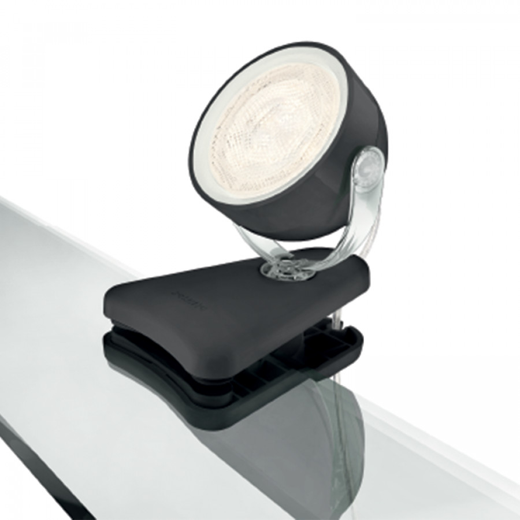 spot led pince myliving dyna i noir 1 ampoule. Black Bedroom Furniture Sets. Home Design Ideas
