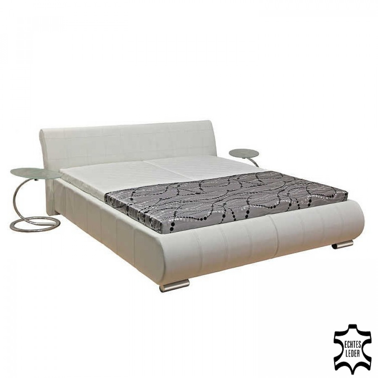 Lit en cuir melanie coffre de lit sommier et matelas - Lit cuir veritable ...