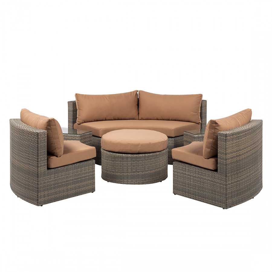 loungegruppe paradise lounge polyrattan anthrazit cognac. Black Bedroom Furniture Sets. Home Design Ideas
