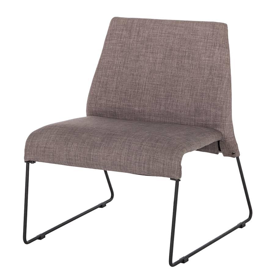 Relaxfauteuil lowell beige bruin grijs stof metaal - Deco lounge grijs en beige ...