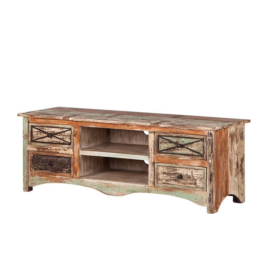 buffet bas tv india 140 cm 4 tiroirs bois massif verni. Black Bedroom Furniture Sets. Home Design Ideas