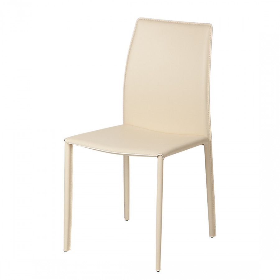 Chaise salle manger manon 2 beige cuir for Chaise beige salle a manger