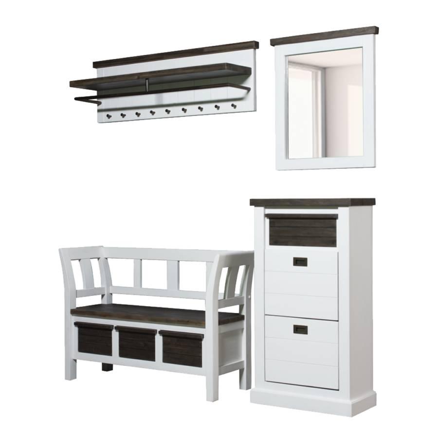 massivholz garderobenm bel campane 4 teilig wei braun home24. Black Bedroom Furniture Sets. Home Design Ideas