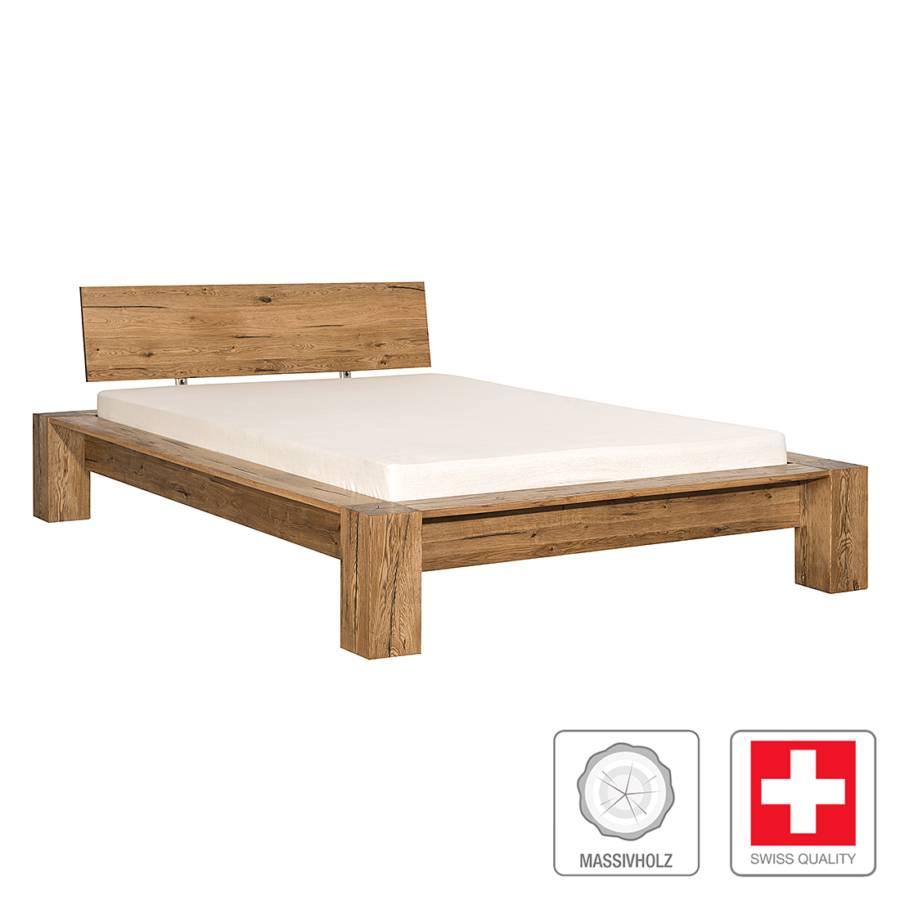 Massief houten bed morton massief moeraseikenhout - Houten bed ...