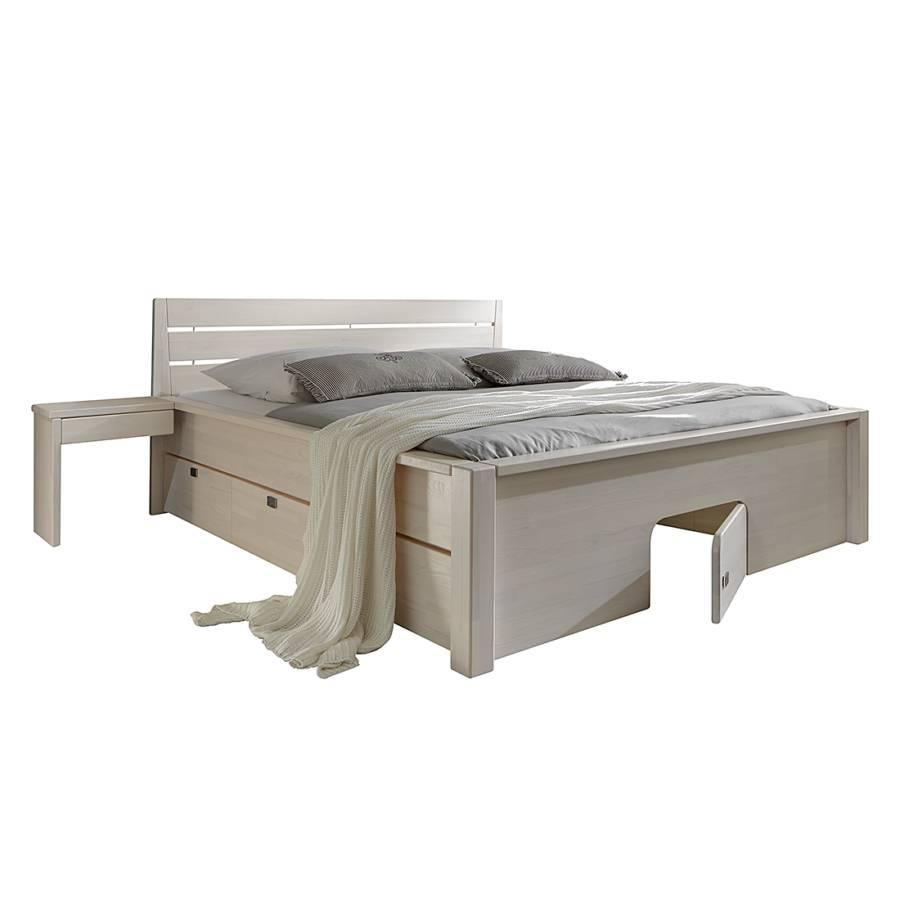 Massief houten bed vario i massief wit gebeitst grenenhout - Massief houten platform bed ...