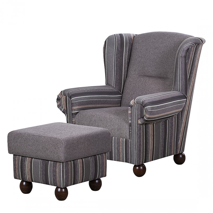 Ohrensessel isabelle webstoff taupe gestreift for Ohrensessel taupe