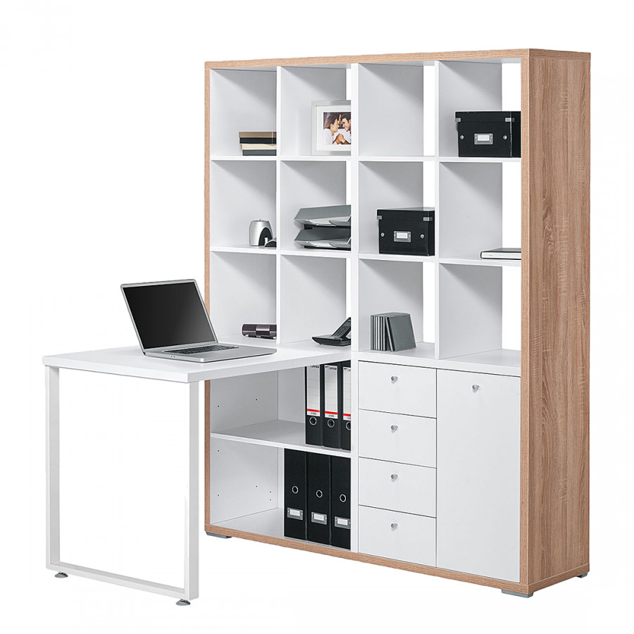mini office lela eiche sonoma dekor wei home24. Black Bedroom Furniture Sets. Home Design Ideas
