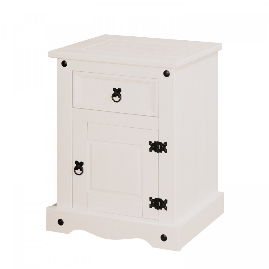 Table de nuit finca rustica pin massif vernis blanc for Table de nuit blanc