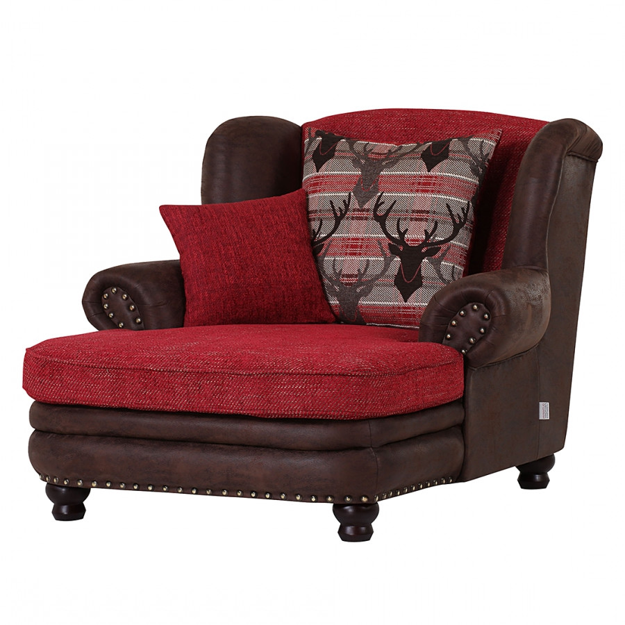 fauteuil oreilles laurence xxl aspect vieux cuir marron fonc tissu rouge. Black Bedroom Furniture Sets. Home Design Ideas