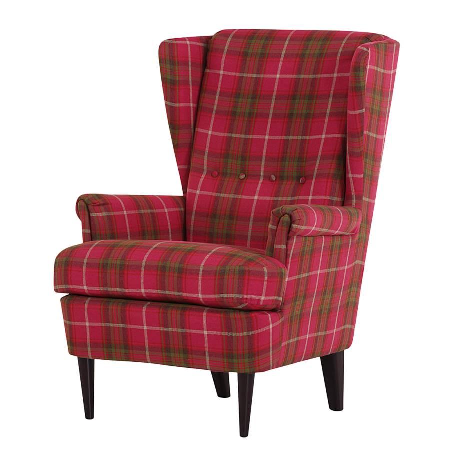 fauteuil oreilles chaville tissu carreaux roses et. Black Bedroom Furniture Sets. Home Design Ideas