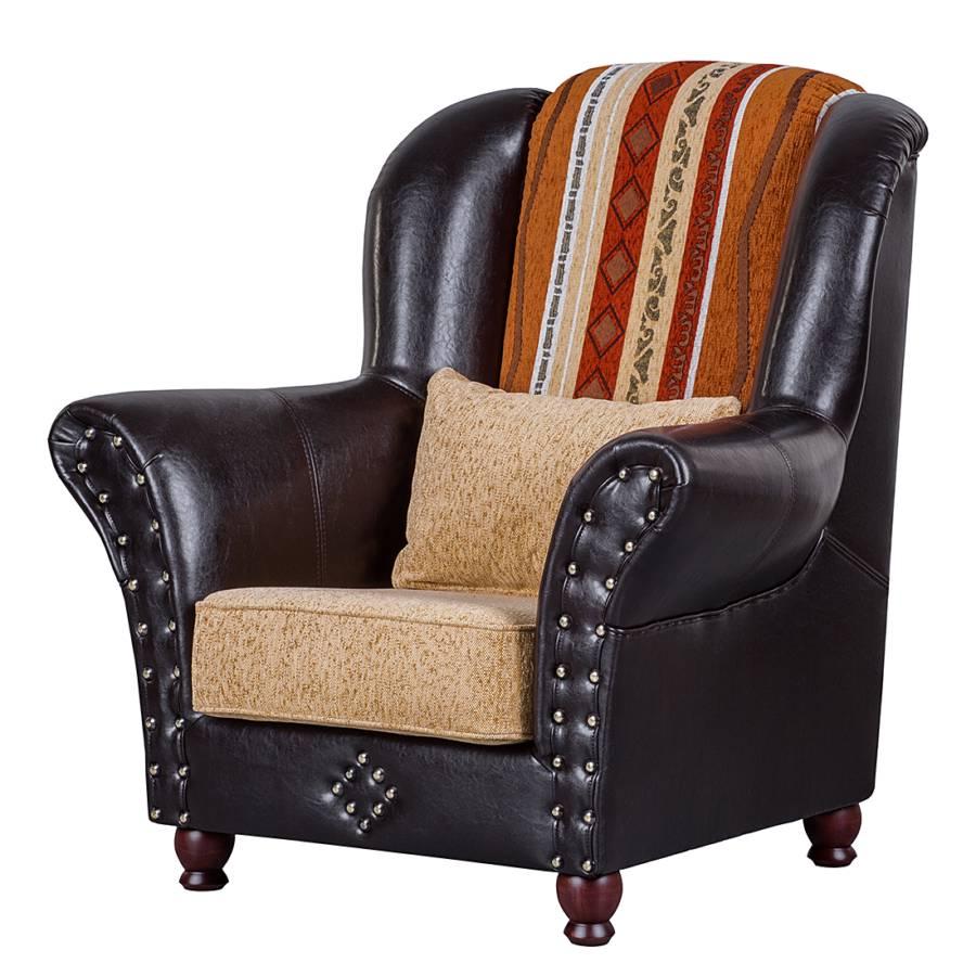 ohrensessel mosambik kunstleder schwarz webstoff beige. Black Bedroom Furniture Sets. Home Design Ideas
