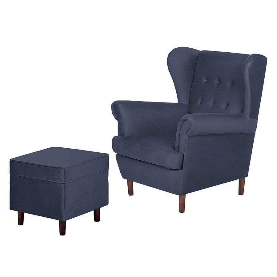 fauteuil oreilles kaiapoi avec repose pieds tissu coton. Black Bedroom Furniture Sets. Home Design Ideas