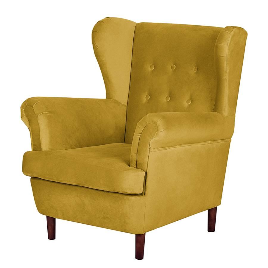 Oorfauteuil van jack alice bij home24 bestellen - Geel fluweel ...