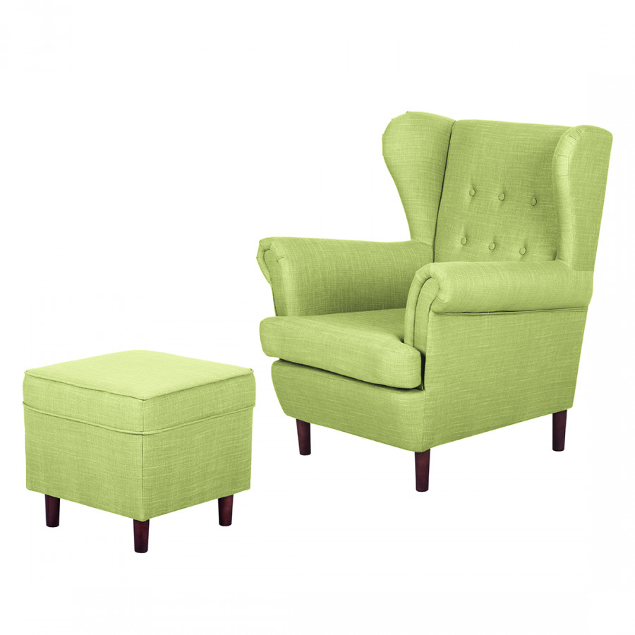 ohrensessel kaiapoi mit hocker webstoff. Black Bedroom Furniture Sets. Home Design Ideas