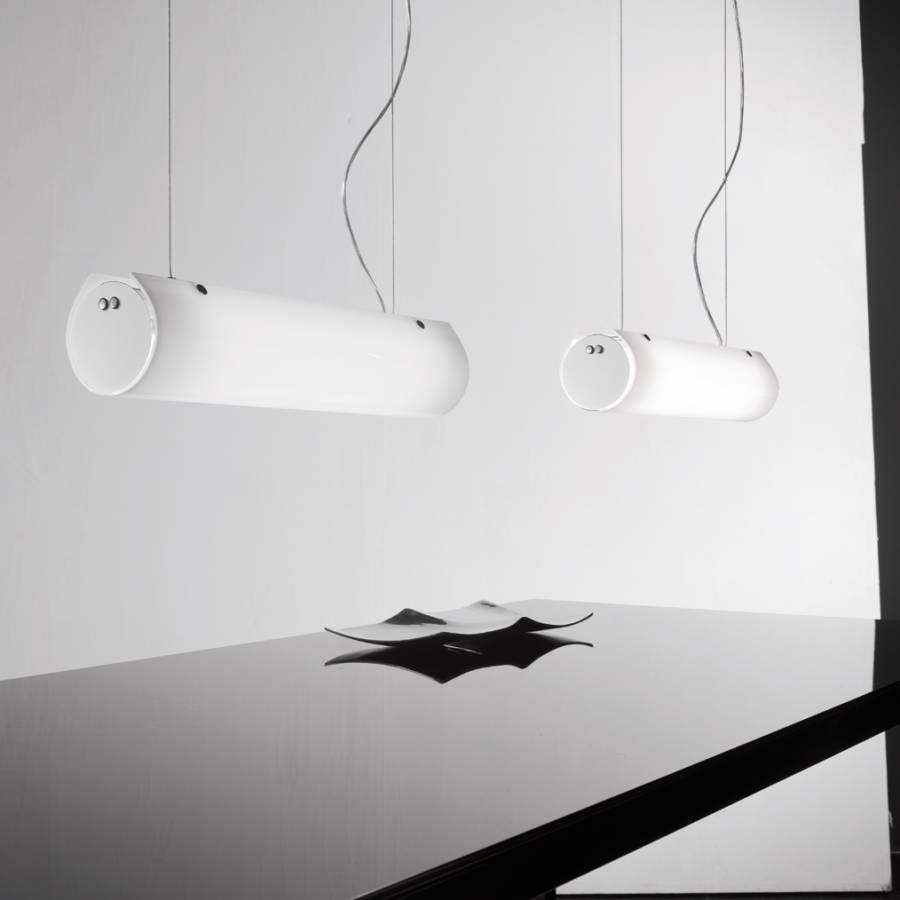 pendelleuchte tub o glas metall wei 2 flammig. Black Bedroom Furniture Sets. Home Design Ideas