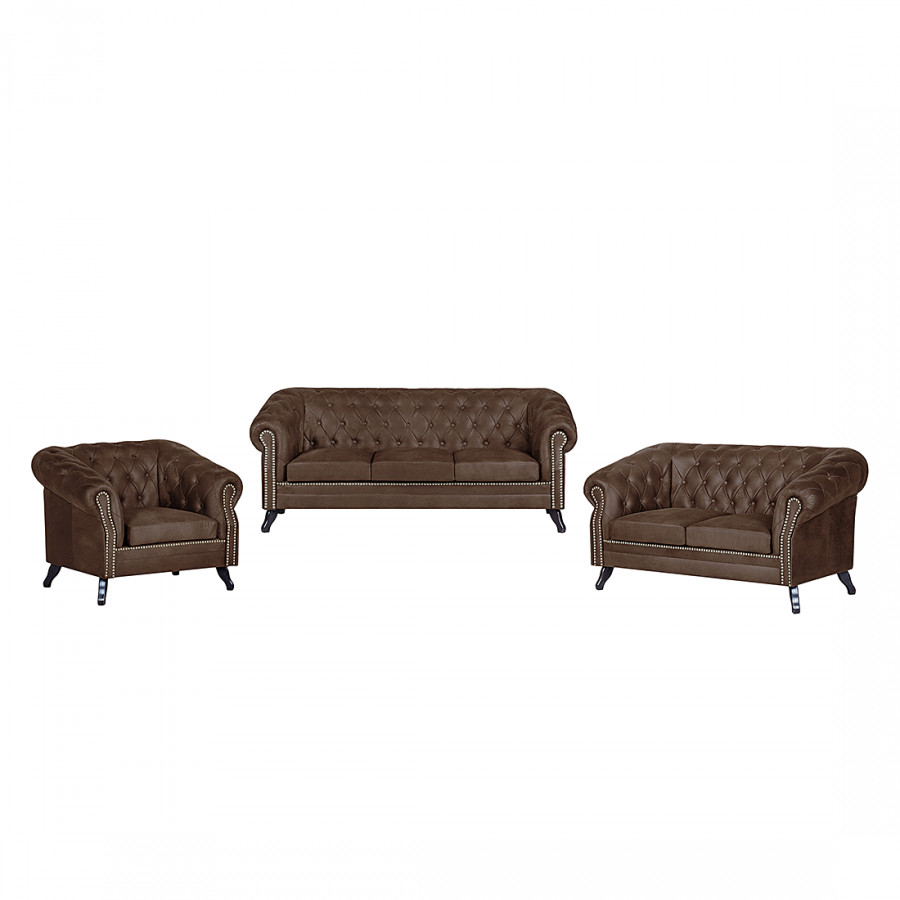 canap panoramique benavente 3 2 1 aspect vieux cuir marron fonc. Black Bedroom Furniture Sets. Home Design Ideas