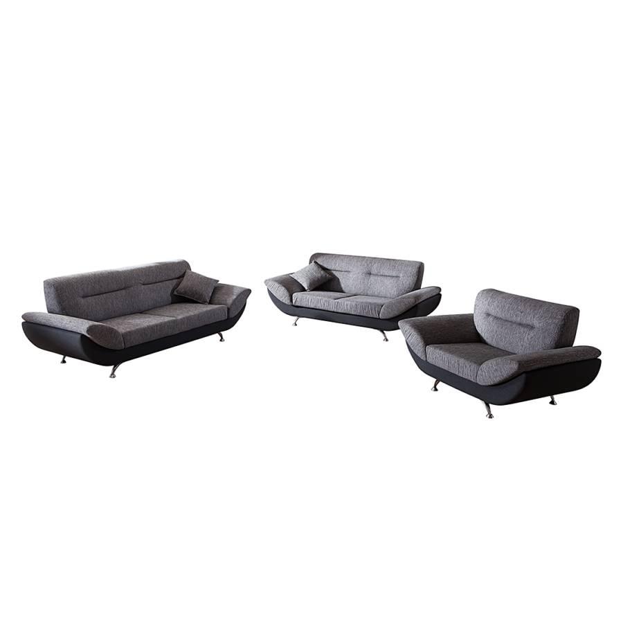 polstergarnitur elias 3 2 1 strukturstoff grau kunstleder schwarz home24. Black Bedroom Furniture Sets. Home Design Ideas