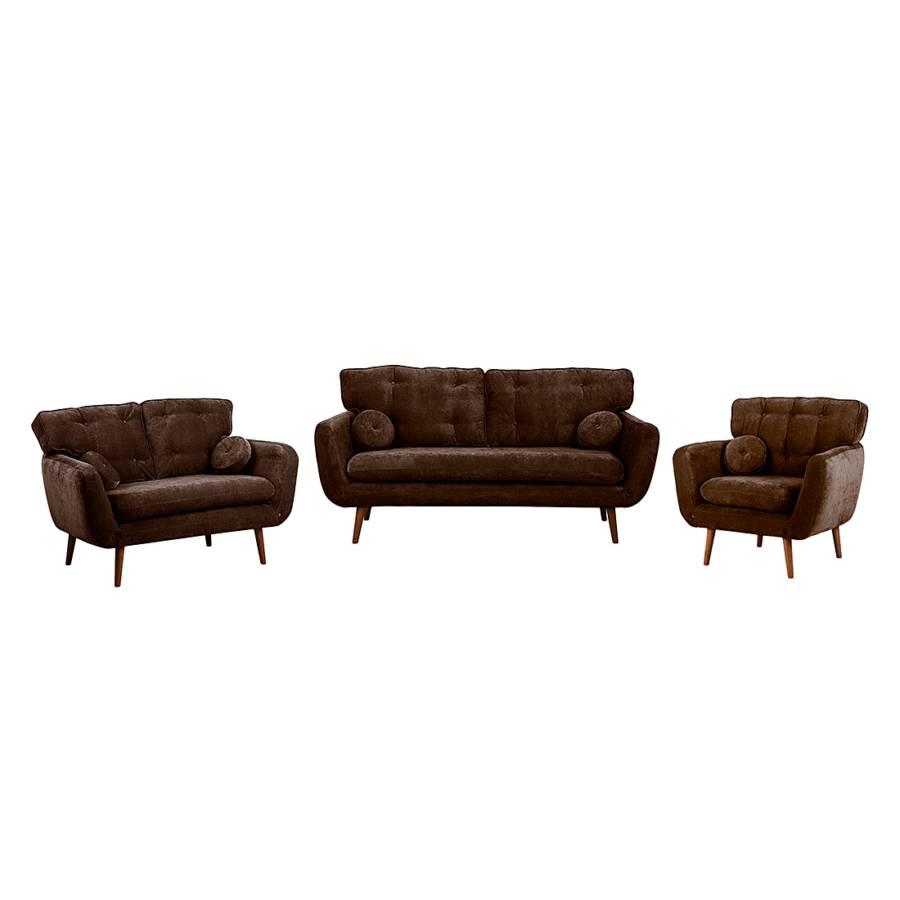 ... Lillbro (3-zitsbank, 2-zitsbank en fauteuil) - bruine microvezel