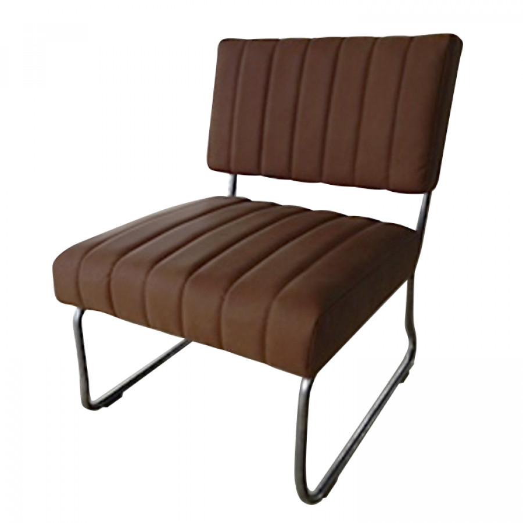 Chaise capitonn e buster imitation cuir acier marron noir - Chaise imitation cuir ...