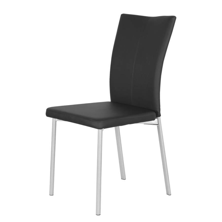 Chaise capitonn e damian lot de 2 imitation cuir noir - Chaise imitation cuir ...