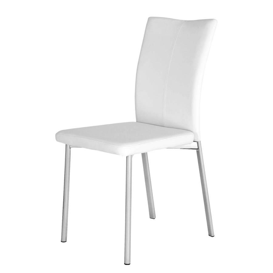 Chaise capitonn e damian lot de 2 imitation cuir blanc - Chaise imitation cuir ...