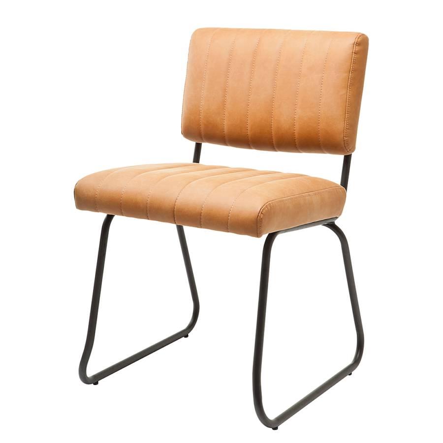 chaise capitonn e dylan imitation cuir acier cognac noir. Black Bedroom Furniture Sets. Home Design Ideas