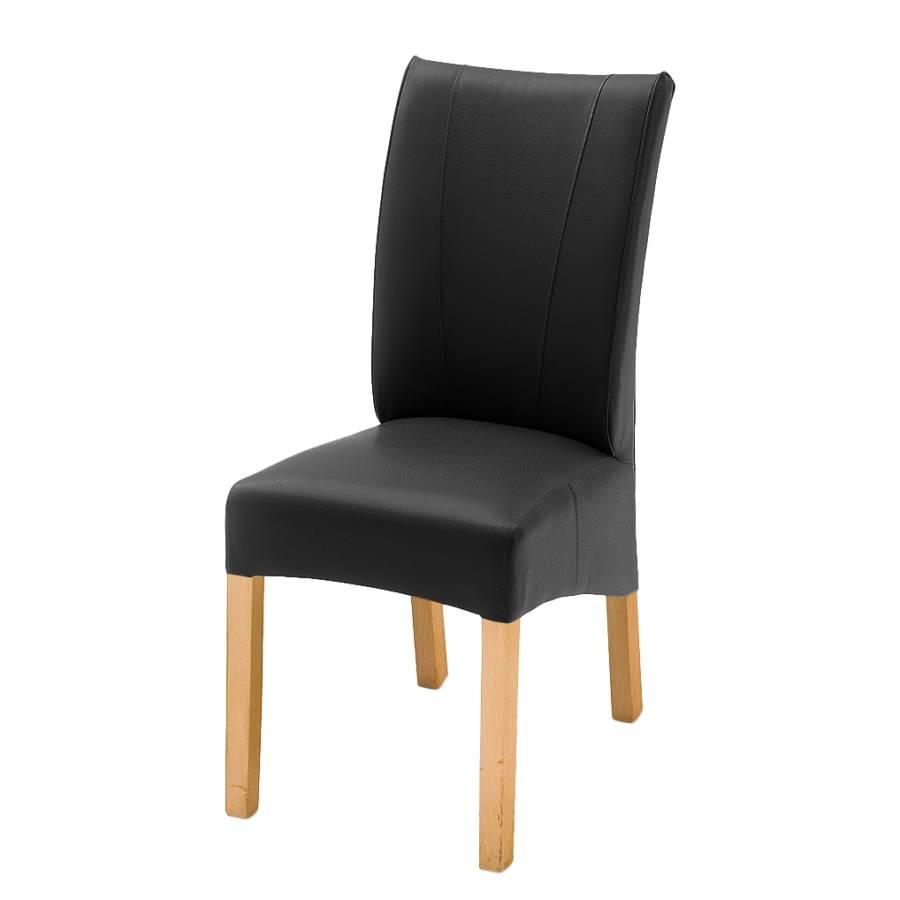 Chaise capitonn e fauna lot de 2 chaises imitation cuir noir - Chaise imitation cuir ...