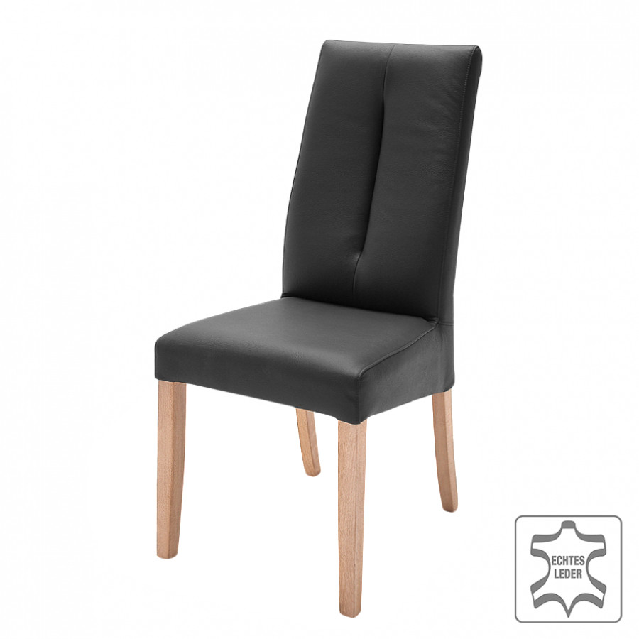 chaise capitonn e saini lot de 2 cuir v ritable noir. Black Bedroom Furniture Sets. Home Design Ideas