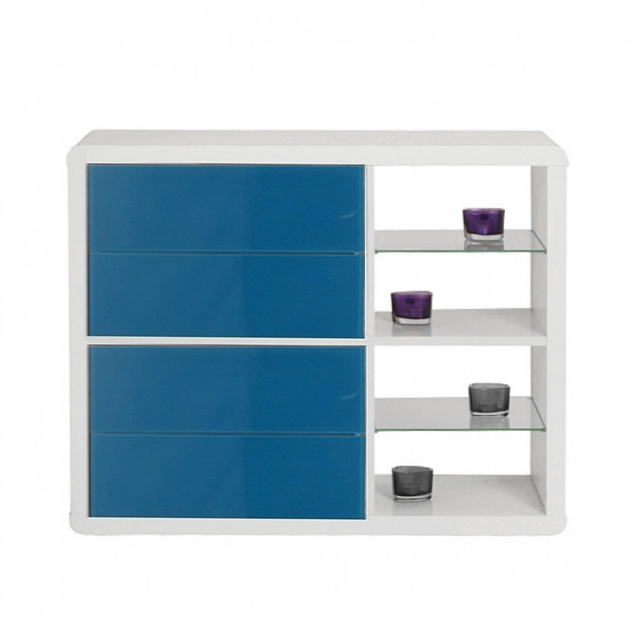 regal 4 applikation blau klein hochglanz wei home24. Black Bedroom Furniture Sets. Home Design Ideas