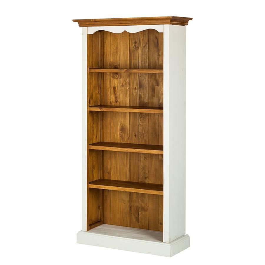 Scaffale boddo legno massello di pino bianco color miele for Scaffale legno bianco