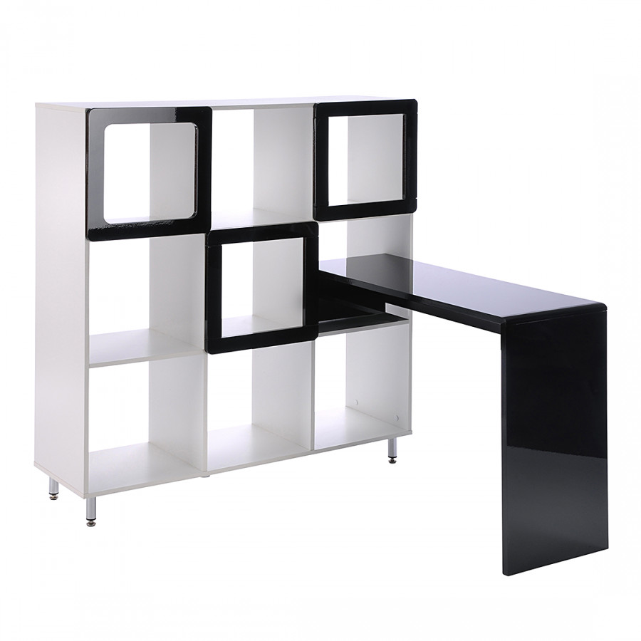 regal carlow mit laptoptisch wei hochglanz schwarz home24. Black Bedroom Furniture Sets. Home Design Ideas