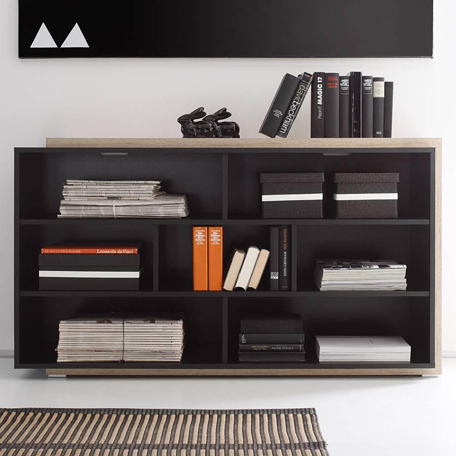 Regal tetris hochglanz schwarz eiche sanremo dekor home24 for Regal schwarz hochglanz