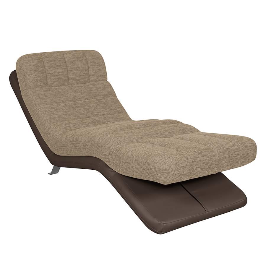 Chaise longue de relaxation vascan imitation cuir tissu structur beige p - Chaise de relaxation ...
