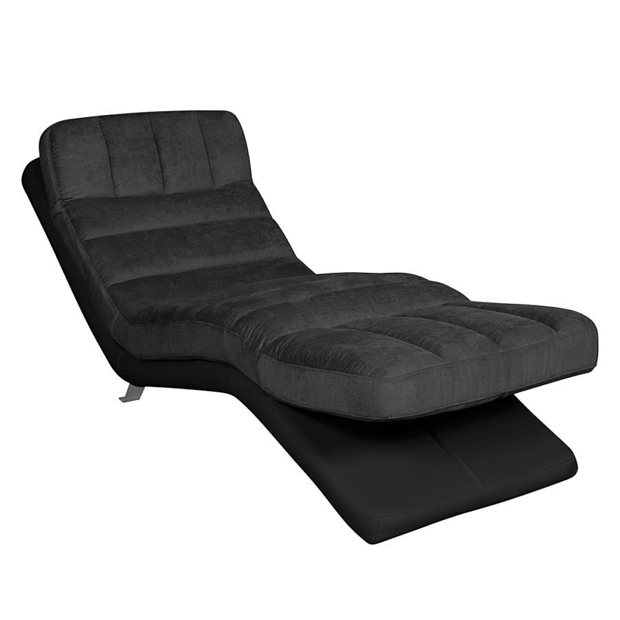 Chaise longue de relaxation vascan imitation cuir tissu plat gris home2 - Chaise de relaxation ...