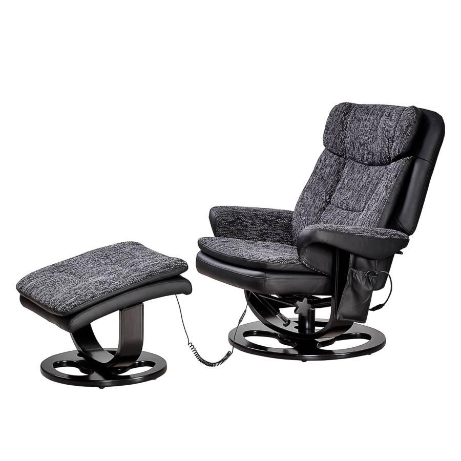 Fauteuil de relaxation arans avec repose pieds imitation cuir tissu noir - Tissu imitation cuir capitonne ...