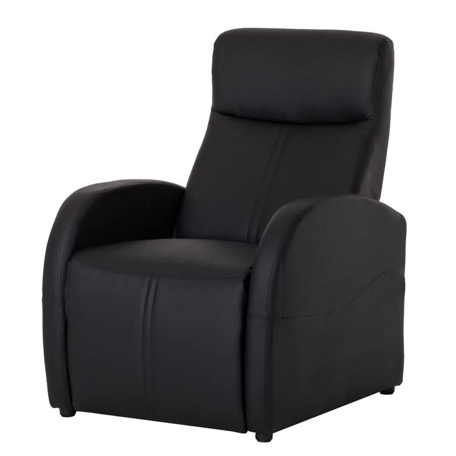 Fauteuil de relaxation baldo cuir synth tique noir - Fauteuil relax cuir noir ...