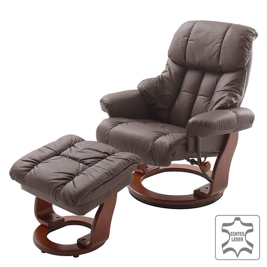 Fauteuil de relaxation grunewald en cuir v ritable avec repose pieds marr - Fauteuil relax cuir marron ...