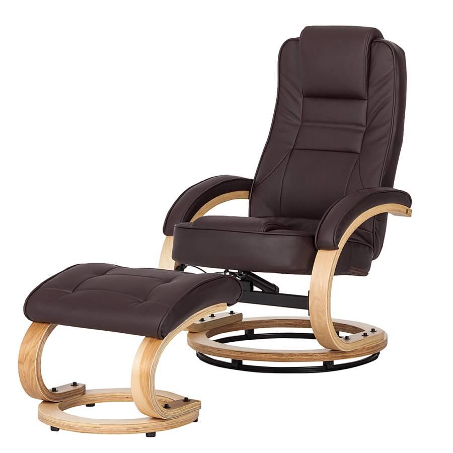 Fauteuil relaxation perlach marron repose pieds - Fauteuil relax cuir marron ...