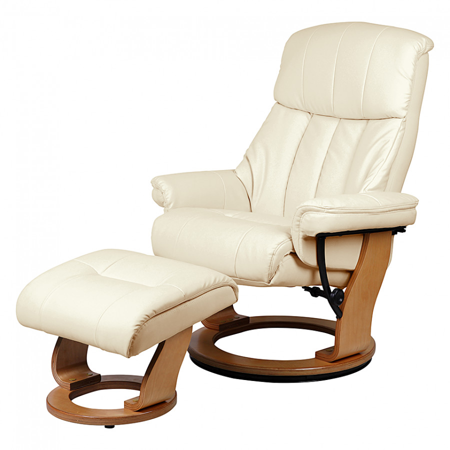 Fauteuil de relaxation toronto avec repose pieds cuir synth tique beige - Fauteuil relax beige ...