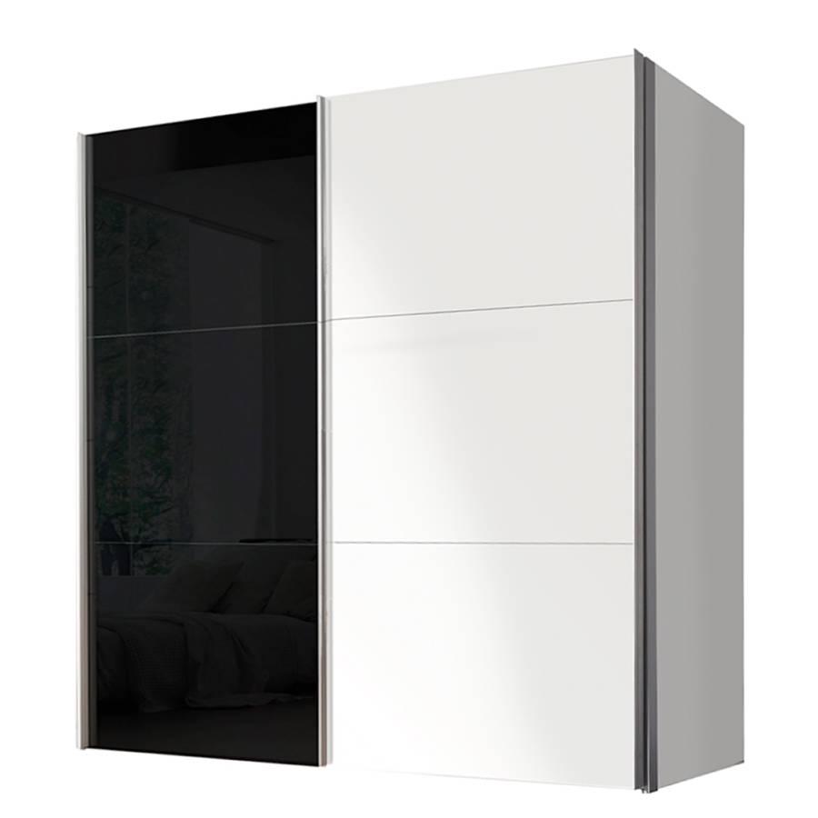 Armoire portes coulissantes ruby blanc polaire verre - Porte coulissante verre noir ...